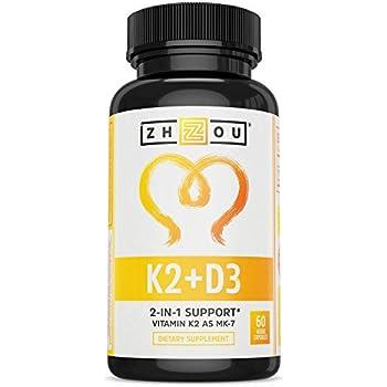 Vitamin K2 (MK7) with D3 Supplement - Vitamin D & K Complex - Bone and Heart Health Formula - 5000 IU Vitamin D3 & 90 mcg Vitamin K2 MK-7 - 60 Small & Easy to Swallow Vegetable Capsules