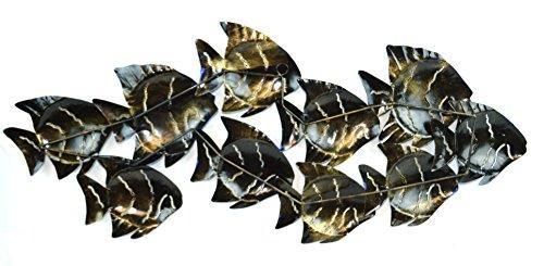 Huge beautiful unique blue nautical school of fish for School of fish metal wall art