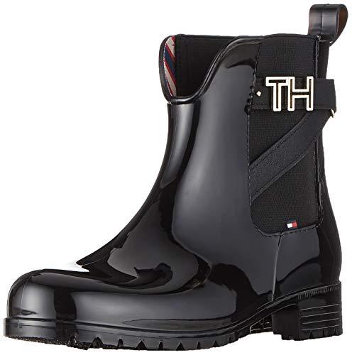 Tommy Hilfiger Damen TH Hardware Rubber Bootie Stiefeletten, Schwarz (Black 990), 40 EU 1