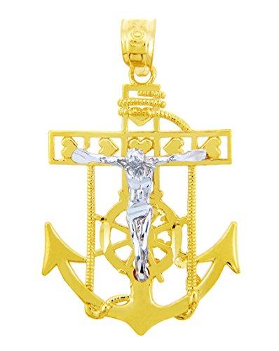 10 ct 471/1000 Religieux Charmes - La Mariner Deux Ton Or Pendentif