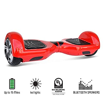 "NHT 4.5"" to 6.5"" Wheel Hoverboard Electric Smart Self Balancing Scooter with Bluetooth Speaker - UL2272 Certified, Black/Blue/Pink/Red/White"