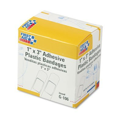 First Aid Only Plastic Adhesive Adhesive Bandages,1 Only x 3, 100 B00FZZ2IEQ/Box by First Aid Only B00FZZ2IEQ, キャラクター子供服のズーワッカ:406f4aad --- ijpba.info