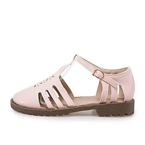 BalaMasa Buckles Metal Pink Heels Square Flats Hollow Shoes Womens Out Urethane Ix4SIwr