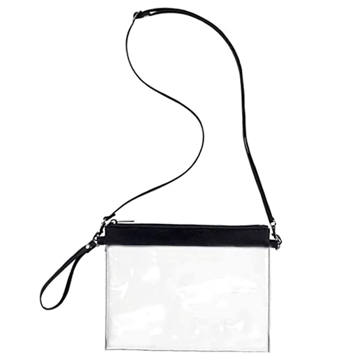 1313ae37fac7 Auony Stadium Approved Clear Purse, 100% Clear Crossbody Purse Messenger  Shoulder Bag Clear Handbags with Adjustable Shoulder Strap & Wrist Strap  for ...