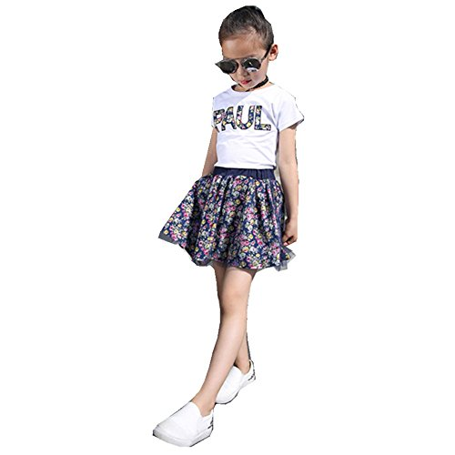 FTSUCQ Girls Letter Gauze Top Shirt with Skirt Two-pieces Sets, Blue 120 (Cute 11 Year Old Guys)