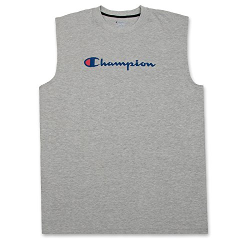 Champion Big and Tall Mens Jersey Muscle Tee with Script Logo Heather Grey 6X-Large Big