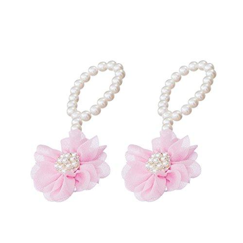 Paire Bébé Chaussures Mignon de Perles Artificielles avec Fleur En Mousseline Bracelet Coloré Pieds Nus - Rose