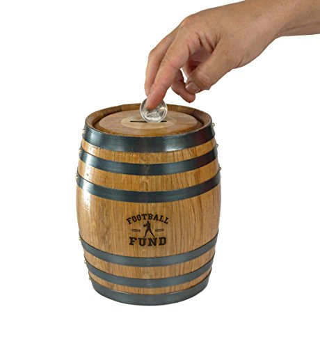 Mini Oak Barrel Piggy Bank Fund for Various Sports (Football Fund) by THOUSAND OAKS BARREL (Image #1)