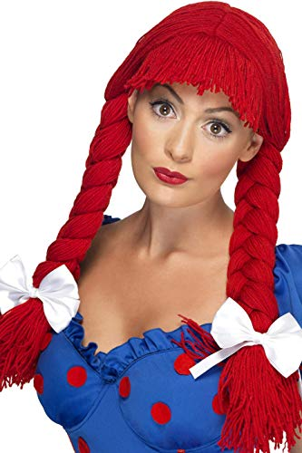 (Smiffys Women's Red Rag Doll Braided Pigtail Wig with Bangs and Bows, One Size, 5020570422335)