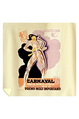 Carnaval 1936 Barcelona Vintage Poster (artist: Morell) Spain c. 1935 (88x88 Queen Microfiber Duvet Cover) by Lantern Press