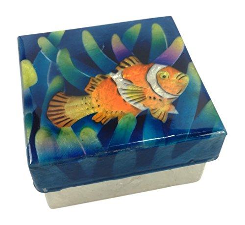 Kubla Craft Clown Fish Capiz Shell Keepsake Box 3 X 3