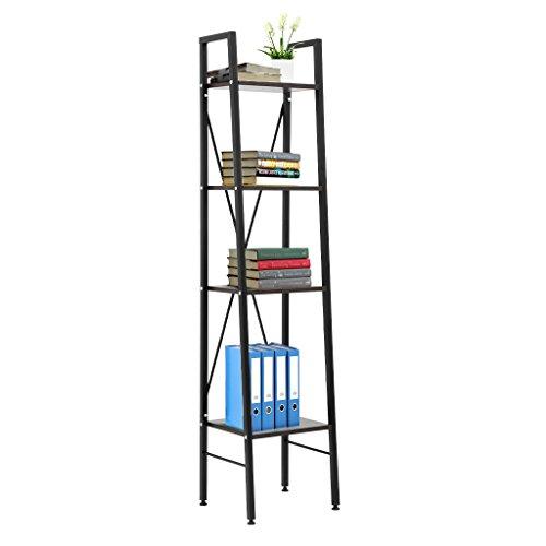 LANGRIA 4-Tier Leaning Shelf Storage Rack Shelving Unit with Steel Frame, Adjustable Feet, 13.4L x 11.8W x 58.3H, Dark Walnut Finish