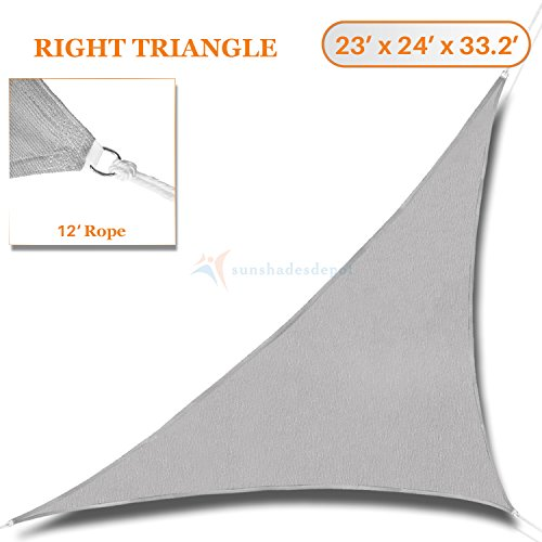 Sunshades Depot 23' x 24' x 33.2'Sun Shade Sail Right Triangle Permeable Canopy Light Grey Custom Size Available Commercial Standard 24' Triangle