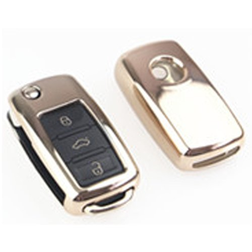 MODIPIM Keyless Entry Remote Cover Soft TPU Key Fob Case with Braided Cord Keychain for Audi A4L A6L A8 A7 A5 S6 S5 Q5 3//3+1 Buttons Smart Key Color Silver