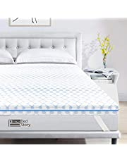 Bedstory Memory Foam Mattress Topper, Gel Infused Cooling Ventilated Mattress Topper with Removable & Washable Mattress Foam Pad Cover with 4 Bands, CertiPUR-US- Ventilated Design