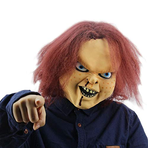 Scary Horror Child's Play Chucky Costume Latex Mask Halloween Cosplay Masquerade Party Props Brown