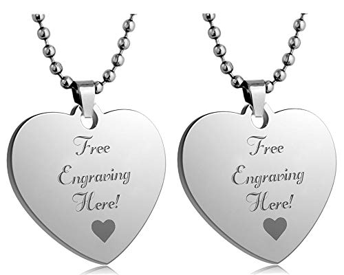 Interway Trading Personalized Small Size Custom Message Engraved Stainless Steel Necklace Dog Tag Pendant with 24 inch Chain,Velvet Giftpouch and Keyring (Heart Silver)