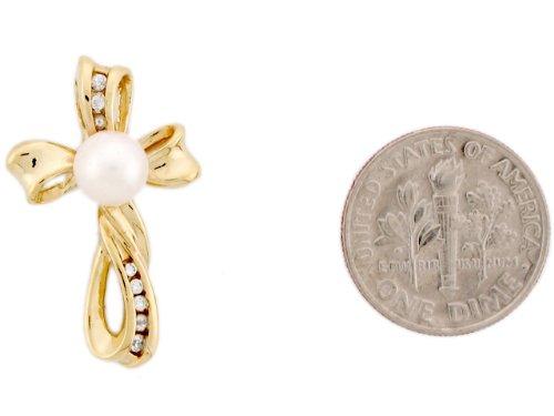 14ct Or Jaune Superbe Pendentif Femme Serti D'une Perle