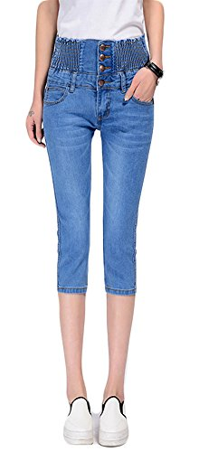 Classic Capris Stretch (Luodemiss Women's Classic Skinny Pull-On Cropped Stretch High Waist Jeans Denim Pants,4,Light Blue)