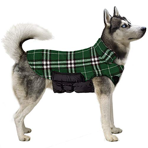 TPYQdirect Dog Jackets for Winter - Windproof Waterproof Reversible Dog Coat for Cold Weather - Plaid Warm Dog Vest for Medium Large Dogs, Green XL ()