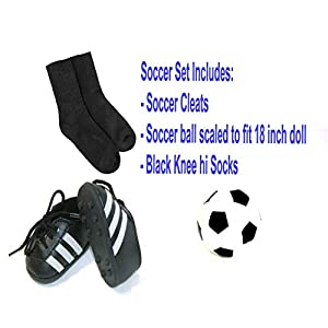 Arianna Fits American Girl 18 inch Doll - 3pcs Soccer Accessory Set - Ball - Cleats - Knee Hi Socks - 18 inch Doll Accessories - Boutique Quality She's Worth it! - Designed In USA Fits 18 Inch Dolls
