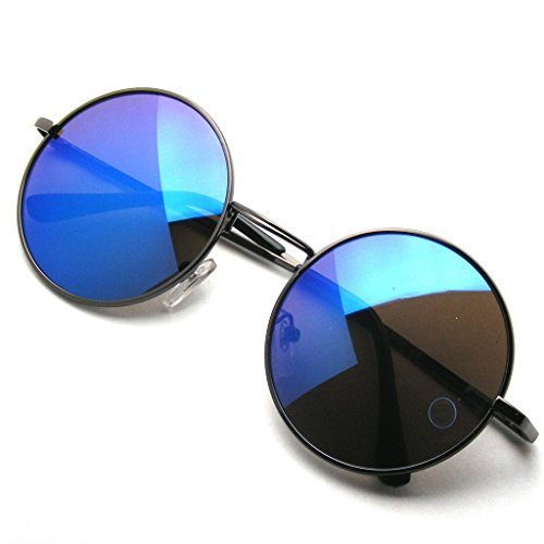 Premium Round Metal Mirrored Full Mirror Circle Sunglasses (Blue, - John Mirror Mirror Lennon