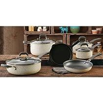 The Pioneer Woman Vintage Speckle 10-piece Non-stick Pre-seasoned Cookware Set, Linen Dishwasher Safe …