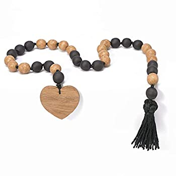 Unique Homemade Table D/écor Prayer Beads Natalia Tykhoniuk Wooden Bead Garland Ideal for Valentine/'s Day and Romantic Dinners Premium Beaded Garlands for D/écor with Wood Heart and Jute Tassel