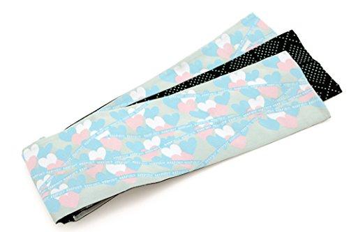 達成家具音節半幅帯 おりびと 織美桐 薄青 アイスブルー 水色 ブルー ピンク ハート リボン ひさかたろまん
