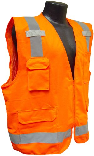 - Radians SV7OM Class 2 Solid Front Mesh Back Surveyor Saftey Vests, Orange, Medium