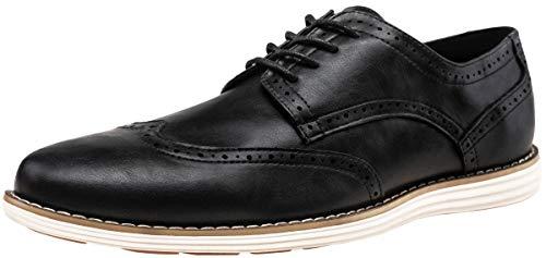 VOSTEY Men's Dress Shoes Wingtip Brogue Oxford Classic Business Shoes (14,Black-01) -