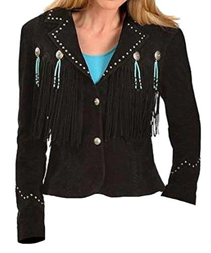 - Bestzo Womens Cowgirl Western Fringed Jacket Suede Leather Black XL