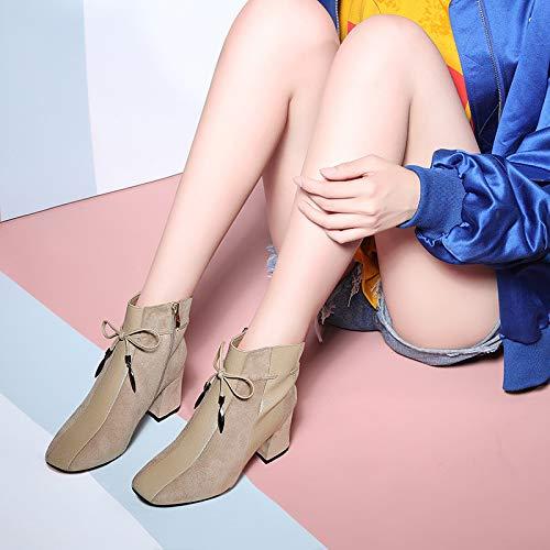GTVERNH Frauen Schuhe Samt Martin Stiefel Kurze Stiefel Herbst Und Und Und Winter 6 cm High Heels Englisch Wind Dicken Hintern. 848a4e