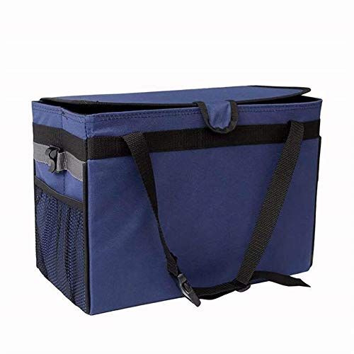 (Backseat Car Trunk Organizer Foldable Collapsible Portable Multi Compartments Trunk Organizer Cargo Storage Bag Best for SUV Vehicle Auto Minivan Black)