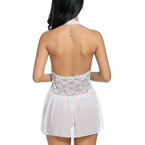 Conjuntos de lencería Mujer erótico Lencería Sexy para Mujeres G-String Tangas Vestido de Noche de Halter Babydoll Bowknot Chemise Camisón Amlaiworld: ...