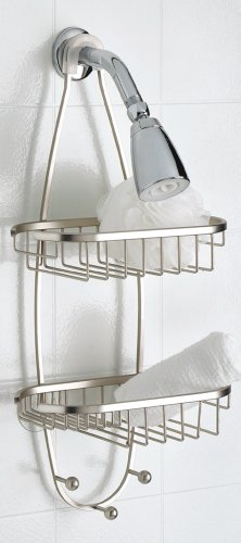 Taymor Satin Nickel Shower Caddy with Oval Baskets