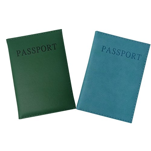 Honbay 2PCS Passport Cover Case Holder for Travel Amimal Friendly Leather (Light Blue and Dark Green)