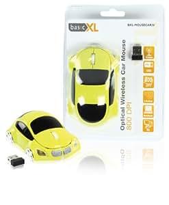basicXL BXL-MOUSECAR20 - Ratón (RF inalámbrico, Óptico, 800 DPI, USB, baterías, AAA) Amarillo