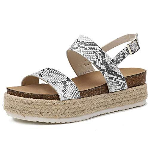 XFASY Espadrille Platform Sandals Open Toe Ankle Adjustable Strap Slingback for Women (Snakeskin Pattern,6.5 M US)