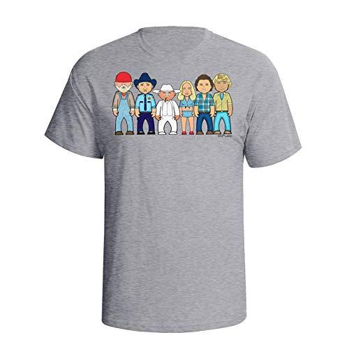 vipwees Mens Good Ol Boys & Co Caricature T-Shirt Grey