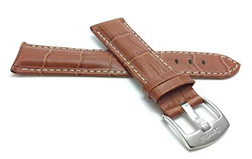 White Alligator Leather Strap (22mm Tan Mens' Alligator Style Genuine Leather Watch Strap Band, With White)