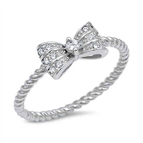 Sterling Silver Women's Flawless Colorless Cubic Zirconia Rope Band Bowtie Bow Ring (Sizes 4-10) (Ring Size 9)