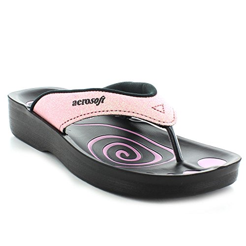 Flops Shoes Pink Orthotic Flip With Comfort Support Womens Gliteratti Glitter Arch Aerosoft Sandal pq68SS1