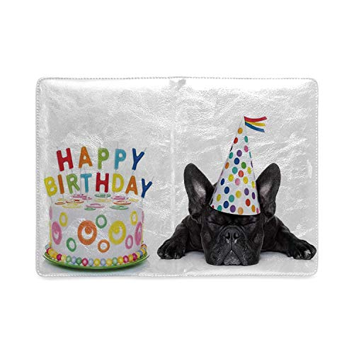 Birthday Decorations for Kids Utility Notebooks,Sleepy French Bulldog Party Cake with Candles Cone Hat Image for Work,5.82