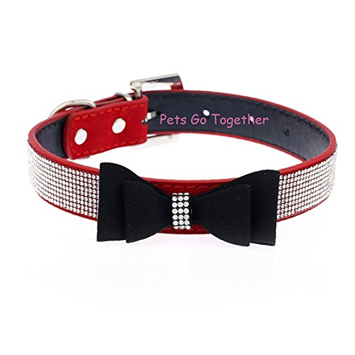 Hubry(TM) Cute Bow Design Dog Collar Bling Crystal PU Leather Suede Pet Puppy Neck Collar Lead S/M/L by Hubry (Image #4)