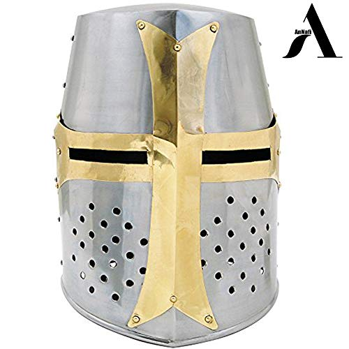 AnNafi Crusader Helmet| Medieval Metal Knight Helmets|Premium Quality with Fitted Leather Liner | Dark Crusades Helmet Wearable for Adult | Medieval Costumes -
