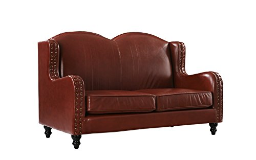 Leather Match Loveseat 2 Seater, Living Room Couch with Nailhead Trim (Light Brown) Brown Leather Pillow Top Sofa