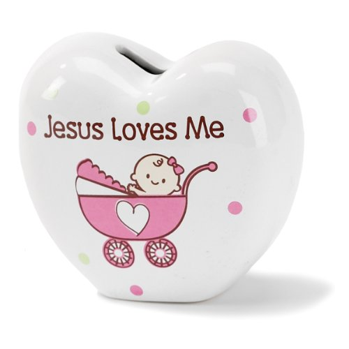 Dicksons Jesus Loves Me Coin Bank, - Ceramic Buggy Baby