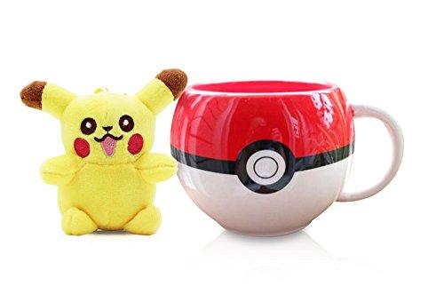 Finex Pokemon Pokeball Coffee Mug Round Figural Cup + Male Pikachu Plush Figure Keychain SET …