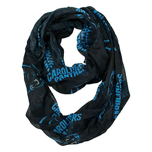 Little Earth NFL Carolina Panthers Sheer Infinity Scarf, Black -